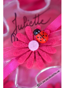 6 Stickers Marguerites Fuschia & Coccinelle