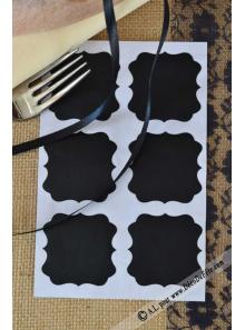 6 Etiquettes RETRO carrées noires