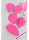 6 Pinces ballons fushia