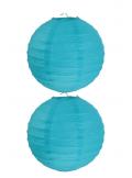 2 Lanternes TURQUOISE 20 cm