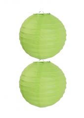 2 Lanternes VERT ANIS 20 cm