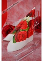 20 Serviettes Roses Passion
