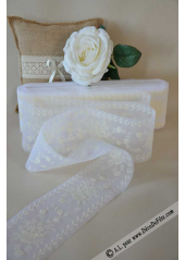 20M Tulle ruban panier de fleurs ivoire