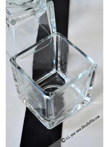 1 mini vase carr verre 6cm. Black Bedroom Furniture Sets. Home Design Ideas