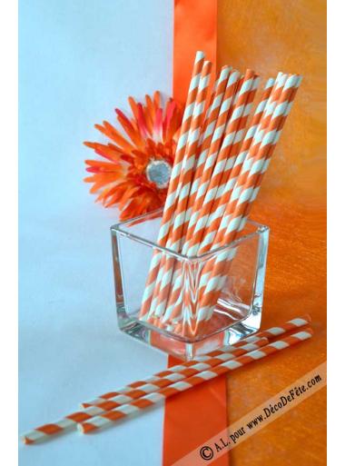 20 pailles rayées orange