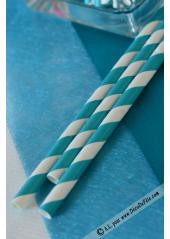 20 pailles rayées turquoise