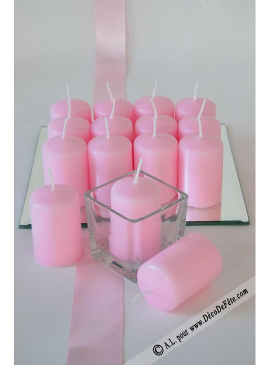 1 bougie cylindre 6cm rose. Black Bedroom Furniture Sets. Home Design Ideas