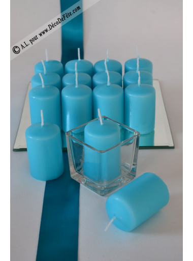 1 Bougie cylindre 6cm turquoise