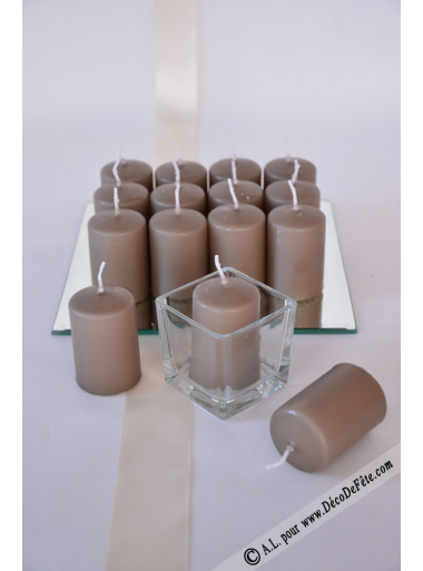 1 Bougie cylindre 6cm taupe