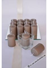 1 Bougie cylindre 6cm caramel foncé (taupe foncé)