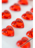 36 stickers strass coeur rouge