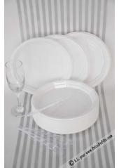 100 Assiettes plastique blanc 22 cm