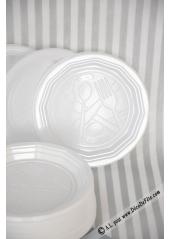 100 Assiettes à dessert plastique blanc 17 cm