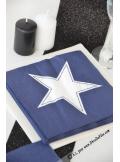 20 Serviettes STAR bleu nuit