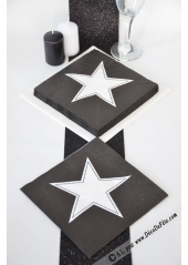 20 Serviettes STAR noire