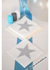 20 Serviettes STAR blanche