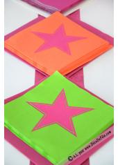 20 Serviettes STAR anis/fushia