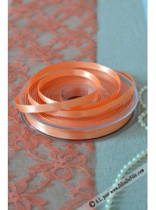 25m Ruban 6mm satin trendy melon