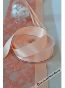 25m Ruban 25mm satin melon