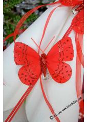 2 papillons paillettes rouge