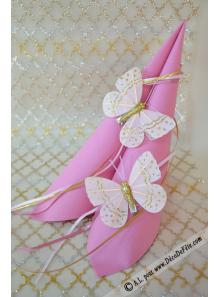 2 papillons paillettes rose