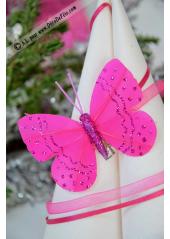 2 papillons paillettes fushia