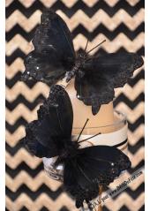 2 papillons plume noir 12cm