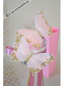 2 papillons plume rose12cm