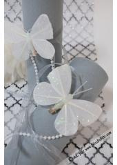 2 papillons paillettes blanc