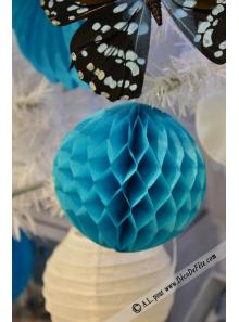 2 boules de papier turquoise 10cm