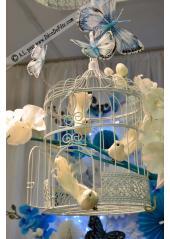 1 cage à oiseaux ronde métal BLANC