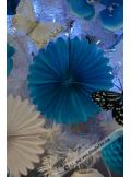 2 éventails de papier turquoise 20cm