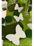 3 papillons bois blanc 15cm