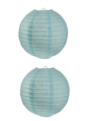 2 Lanternes BLEU CIEL 20 cm