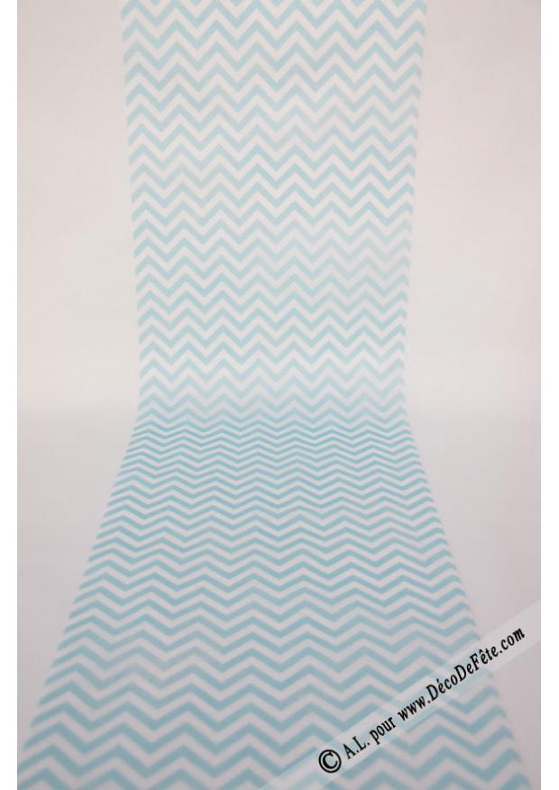 5m chemin de table chevron turquoise - Chemin de table turquoise ...