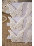 6 pinces papillon dentelle blanc