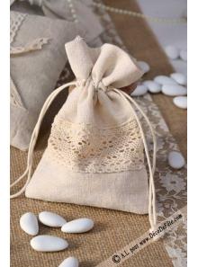 5 sachets lin et dentelle naturel