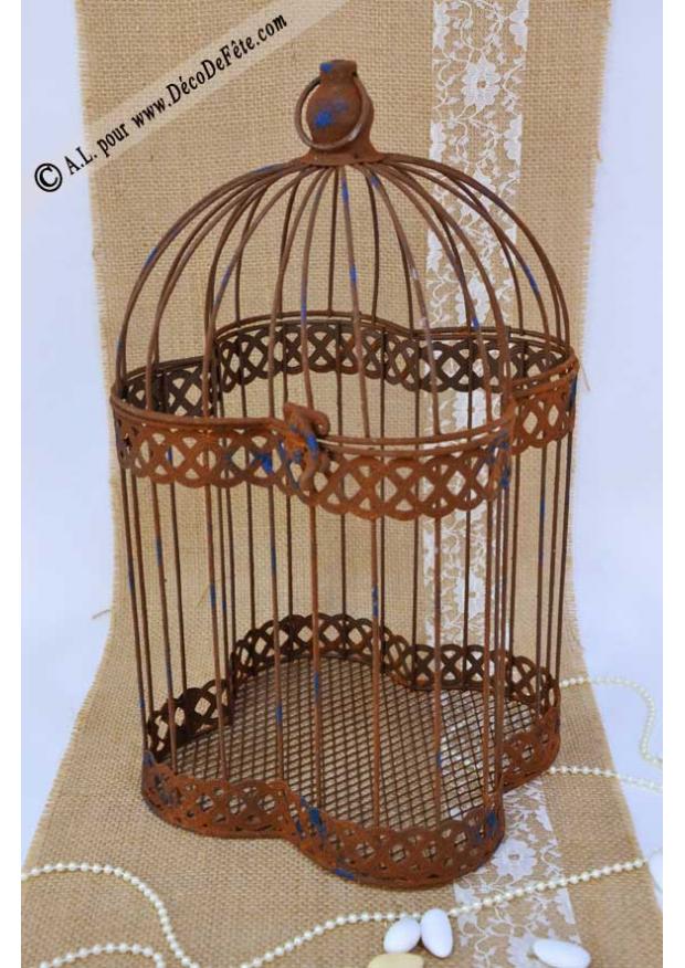 1 cage a oiseaux metal vieilli. Black Bedroom Furniture Sets. Home Design Ideas