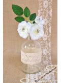 2 mini branches d'églantine blanche