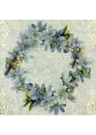 20 serviettes couronne de fleurs bleues serviette papier imprim e. Black Bedroom Furniture Sets. Home Design Ideas
