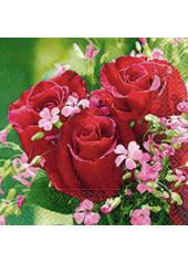 20 Serviettes Roses ardentes