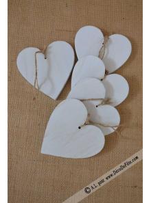 5 coeurs  bois blanc 10cm