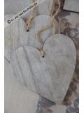 5 coeurs bois gris 10cm