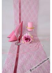 5M chemin de table dentelle 30cm rose