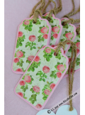 12 Etiquettes pivoines rose