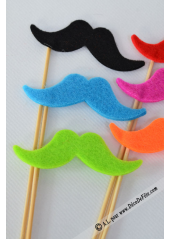 1 kit 6 MOUSTACHES feutrine pour photobooth