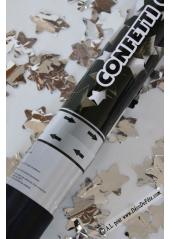 1 Canon à confettis ETOILES argent 40cm