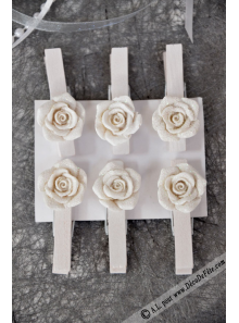 6 pinces roses blanches