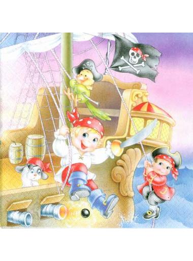20 Serviettes imprimées pirate