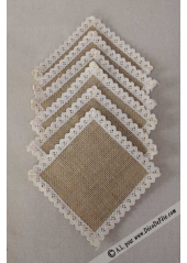 6 napperons carrés 12cm jute et dentelle